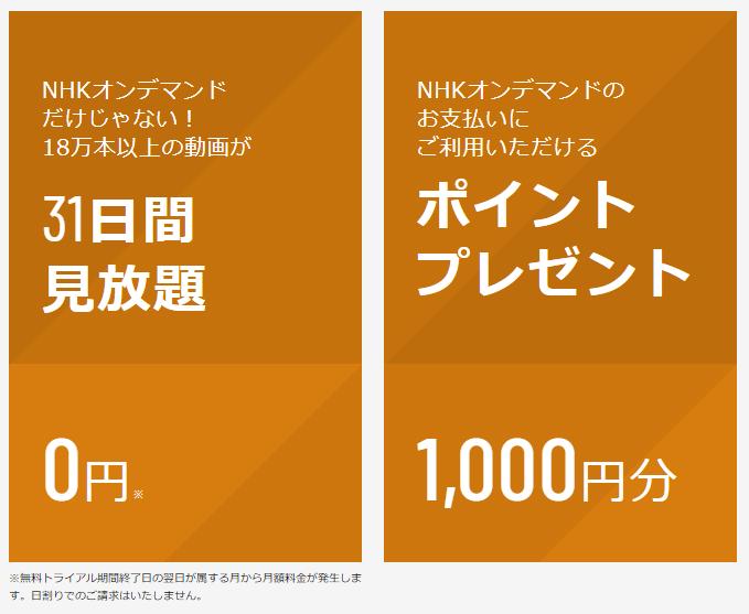 U-NEXT NHKオンデマンドのポイントプレゼント説明